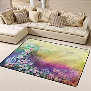 Rugs for Living Room Flower Kids Play Rug Spring Flowers Ivy Art 5' x 8' Rectangle