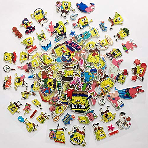 Chaoiwah Spongebob Stickers 6 Sheets and 2 More Free Sheet Sticker Totally 8 Sheets per Pack ()