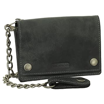 Billetera de piel de lujo de motorista con cadena, monedero para motorista, 13,5 cm, en varios colores, negro, marrón, beige