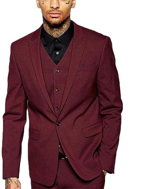 KA Beauty - Traje - para Hombre Rojo Granate: Amazon.es ...