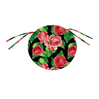 Plow & Hearth Polyester Classic Round Chair Cushion with Ties2-16 Dia. x 2 Cabbage Rose : Garden & Outdoor