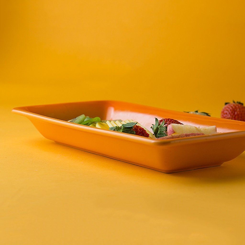 He Xiang Ya Shop Baking Dish Household Long Strip Plate Orange Flat Plate Dessert Plate Fruit Salad Plate Ceramic Plate Steak Plate Grill Plate by He Xiang Ya Shop (Image #3)