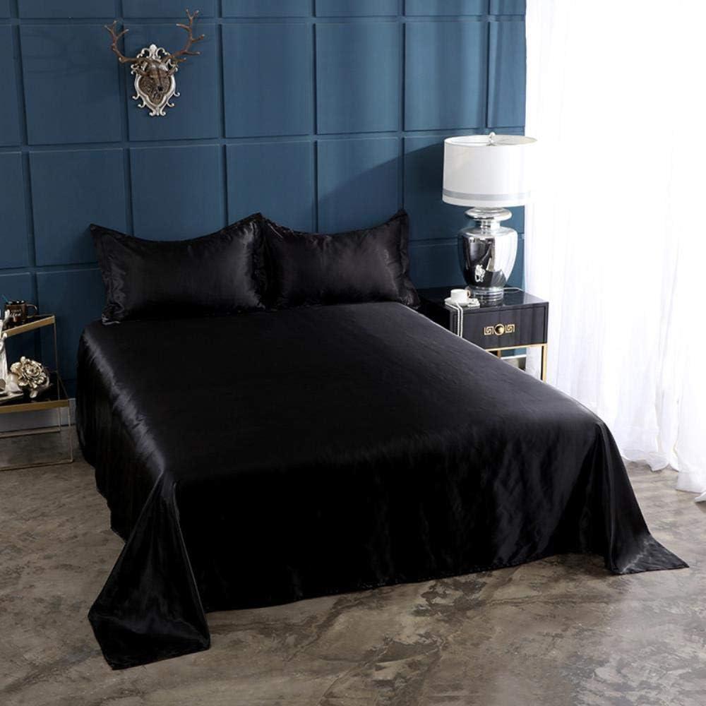 Hongma 1pc Drap Housse en Satin Polyester Taille 140X190cm Couleur Violet