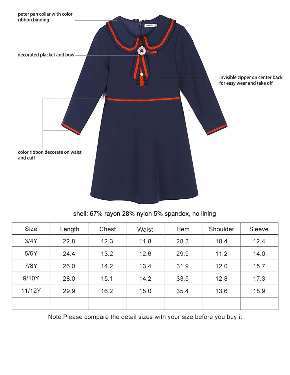 SOLOCOTE Kids Girls School Uniform Jumper Dress Pleated Peter Pan Sundress 3-12Y