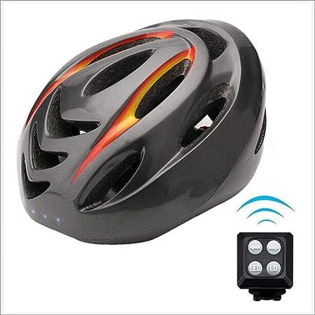 GJSN Smart Fahrradhelm Blinkerhelm Nachtradfahren sicher Helm mit Abbiegelicht LED Wireless-Steuerung USB-Ladung Ip55 Wasserd