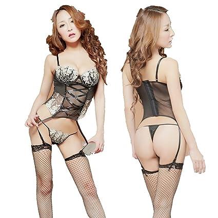 04c48d9654c6 GR HQ8934 Conjunto de lencería de Encaje Sexy para Mujer Ropa ...