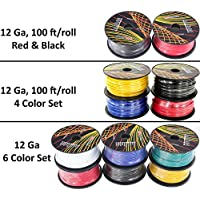 12 Gauge Primary Wire Assortment. Choice of 2, 4 or 6 Rolls Pack, 100 FT per Roll. Copper Clad Aluminum Cable Great for Audio Speaker Amplifier Automotive Trailer Light Wiring. 6 Color Selection