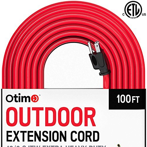 Otimo 100 ft 12/3 Outdoor Extra Heavy Duty Extension Cord - Professional Series - 3 Prong Extension Cord, Red by Otimo