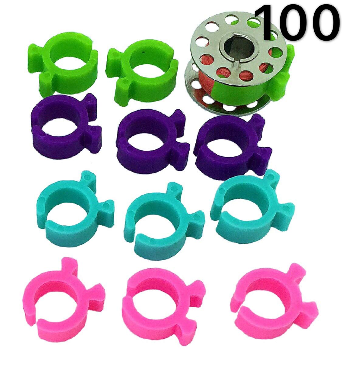 PeavyTailor 100 Colors Prewound Sewing Thread Bobbins Specialty Threads Master Set .