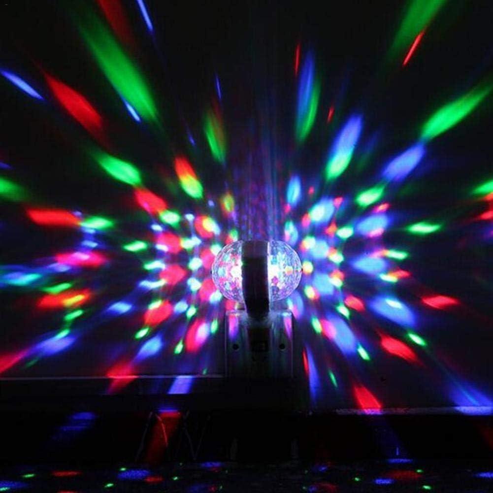 Strobe Lamp Stage Par Light for Car Room Dance Parties Birthday DJ Club Party Lights,Dj Lighting E27 3W Stage Strobe Light with RGB Dual-Head Rotary RGB LED Stage Light RBG Disco Ball