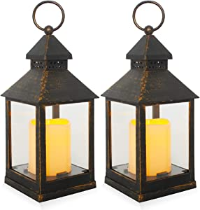 Decorative Lanterns,Hanging LED Lantern 6 Hours Timer Candles,Black Brown Vintage Style Battery Operated Candles Lanterns for Outdoor & Indoor,Wall,Table,Patio,Porch,Party,Garden,2 Pack