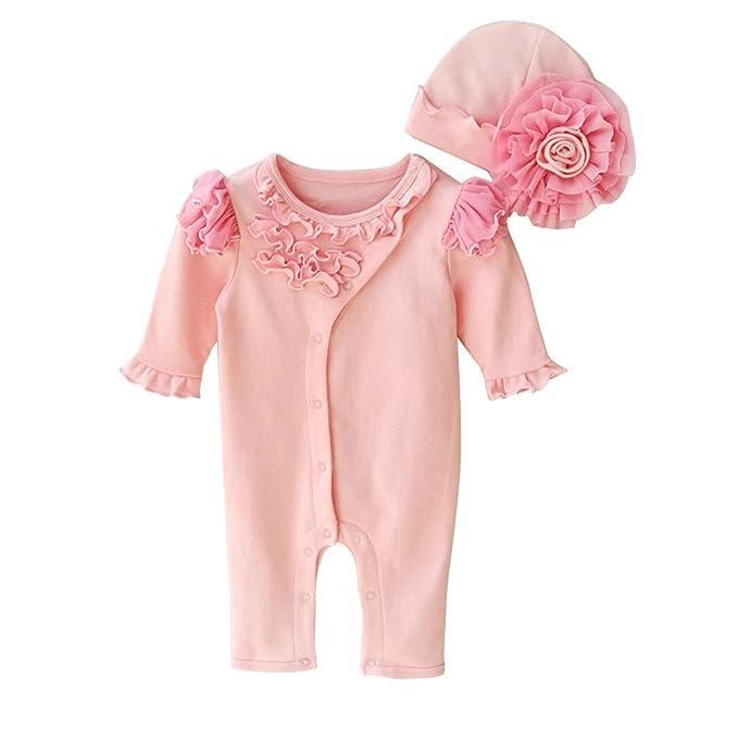 Bebé recién nacido Niñas Pelele de manga larga volantes botón flor tapa algodón Outfit Rosa rosa: Amazon.es: Ropa y accesorios