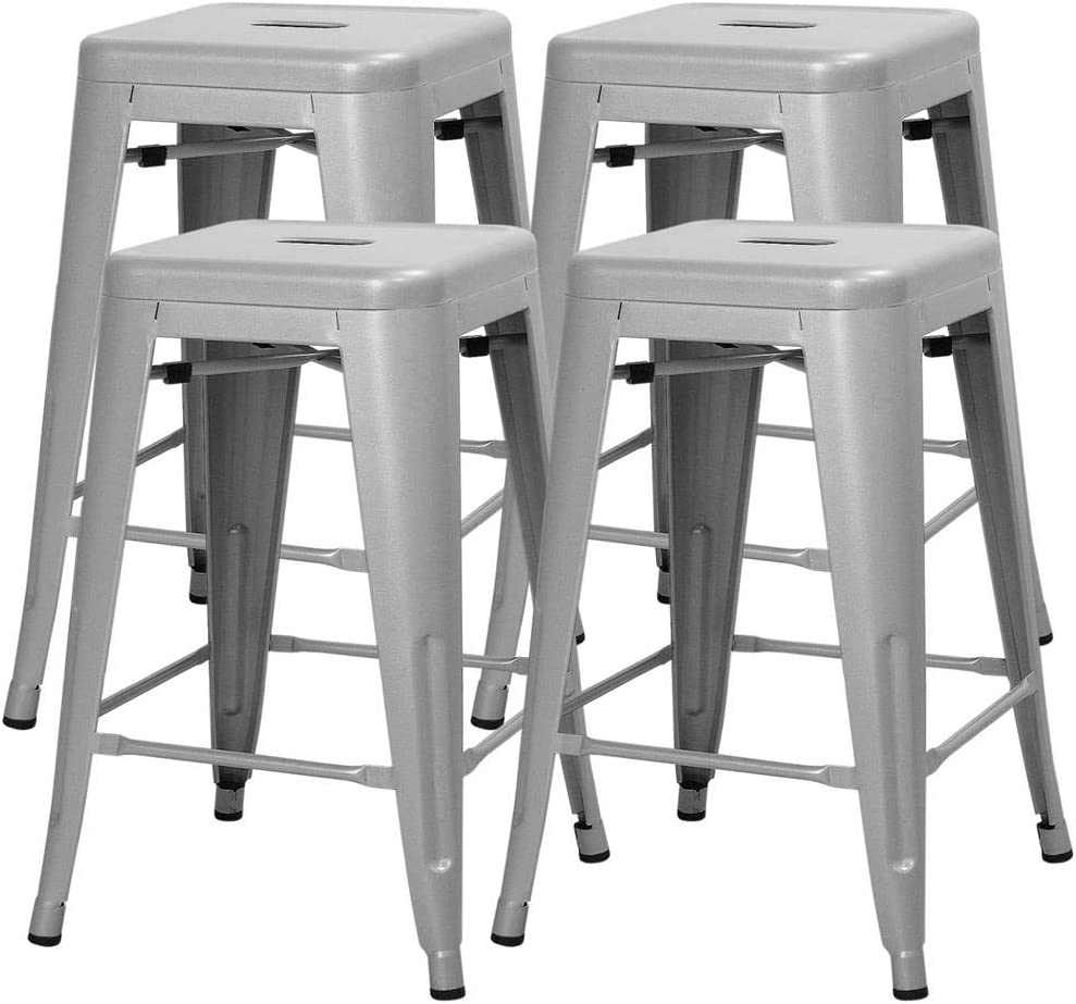 Yaheetech 24 Inches Metal Bar Stools High Backless Indoor Outdoor Counter Height Stackable Stools Kitchen Counter Chair Island Set of 4 Silver, 331 lb