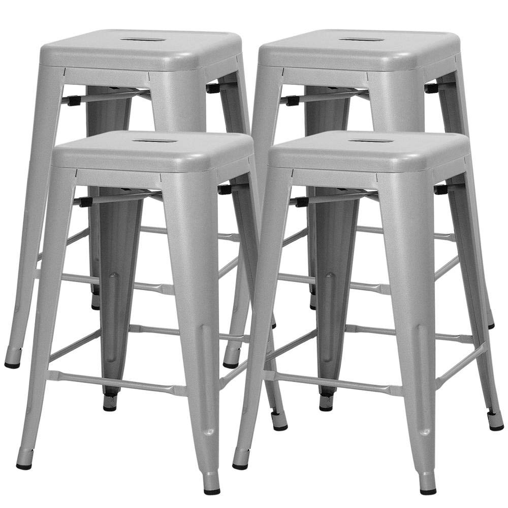 Yaheetech 24inch Metal Bar Stools Counter Height Barstools Set of 4 High Backless Industrial Stackable Metal Chairs Indoor Outdoor, Silver
