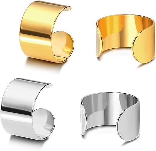 Stainless Steel Punk Hoop Earrings Cuff Wrap Ear Stud Clip Earrings Lady  UE