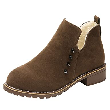 ❤ Botas Cortas para Las Mujeres de Peluche, Moda Mujer Remaches Zapatos Planos Martain Boot Suede Slip-On Boots Zapatos de Punta Redonda Absolute: ...