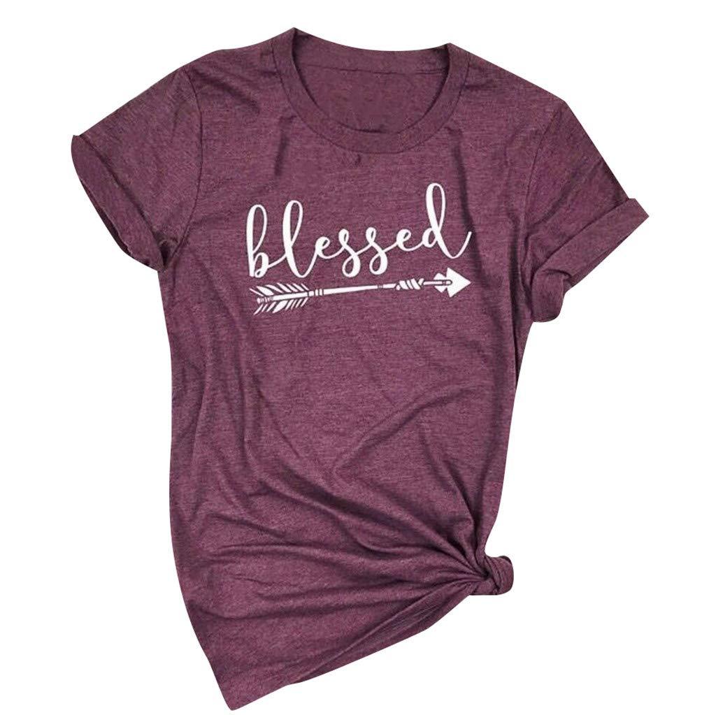 Fartido Short Sleeve Tunics for Women,T-Shirt,Ladies Summer Letter Print Short Sleeve Top Shirt