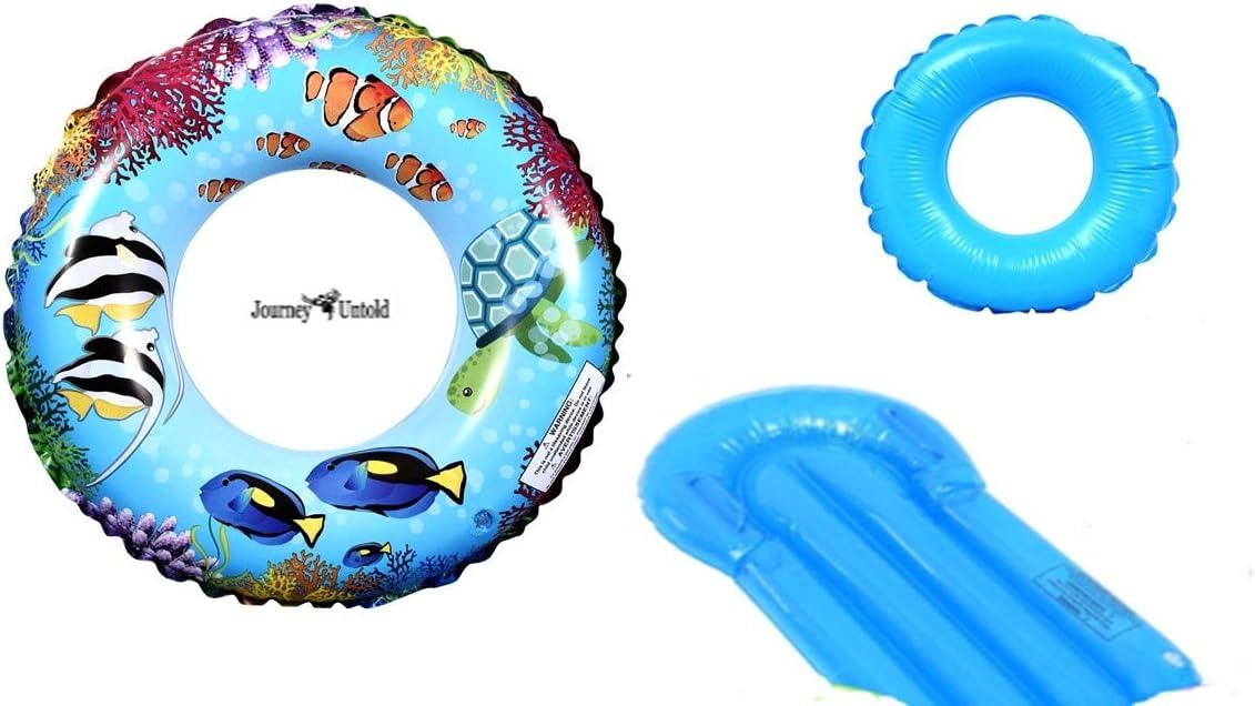 Toy Kids Spring Summer (Bonus Nedo Fish) Fun Backyard Outdoor Play Playtime Pool Lake Beach Water Inflatable Coral Fish Ring 30 in Tube - Bundle of 3