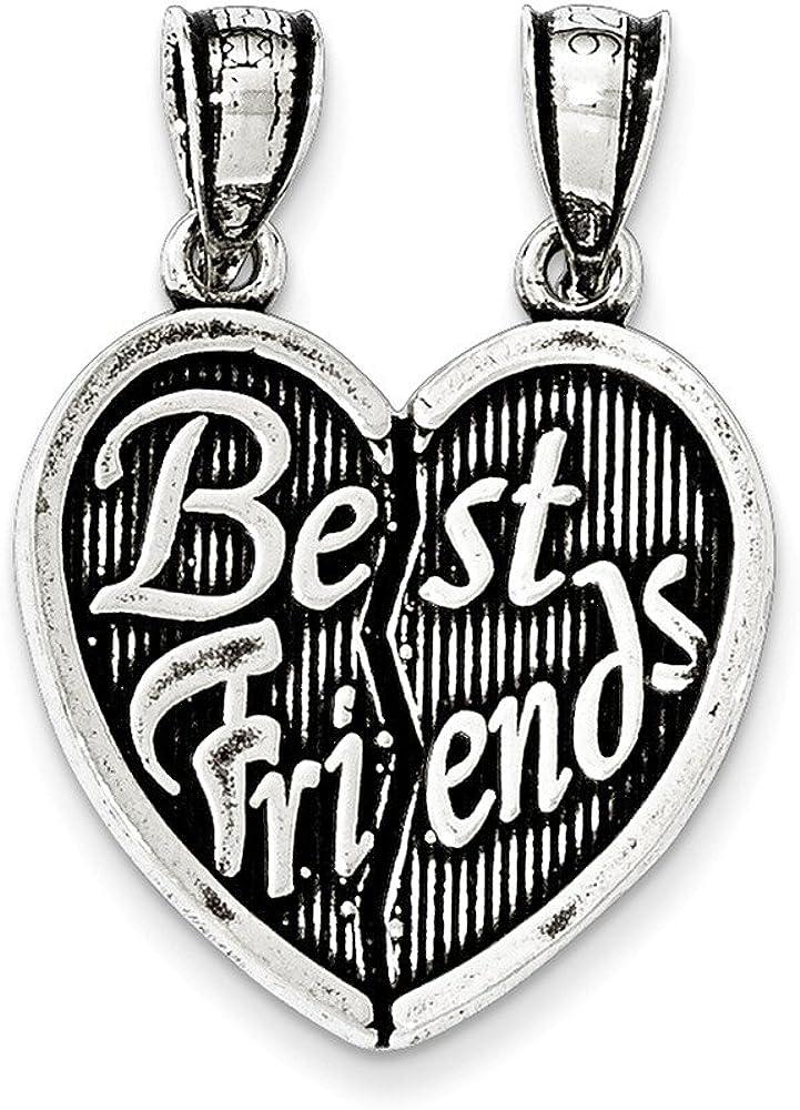 .925 Sterling Silver Antiqued Best Friends Break Apart Heart Charm Pendant