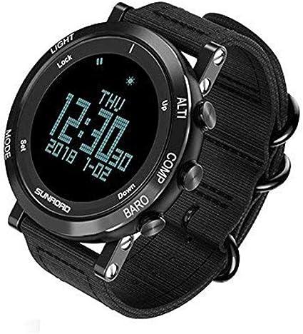 SUNROAD - Reloj de pulsera inteligente digital con barómetro altímetro, brújula impermeable con pantalla LED, esfera grande, altímetro y resistente al agua, informal, luminoso, cronómetro