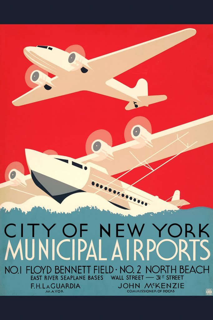 ArtParisienne City of New York Municipal Airports Wall Decal, 32'' L x 48'' W
