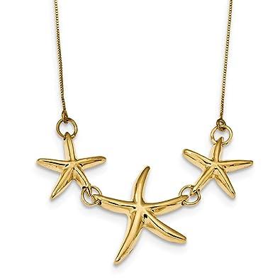 Amazoncom 14k Yellow Gold Starfish Necklace 175inch Jewelry