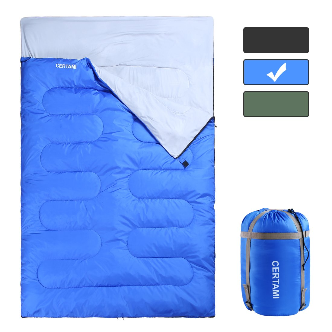 CER TAMI Sleeping Bag for Adults, Girls & Boys, Lightweight Waterproof Compact, Great for 4 Season Warm & Cold Weather, Perfect for Outdoor Backpacking, Camping, Hiking (Dark Blue/Double Zip) by CER TAMI