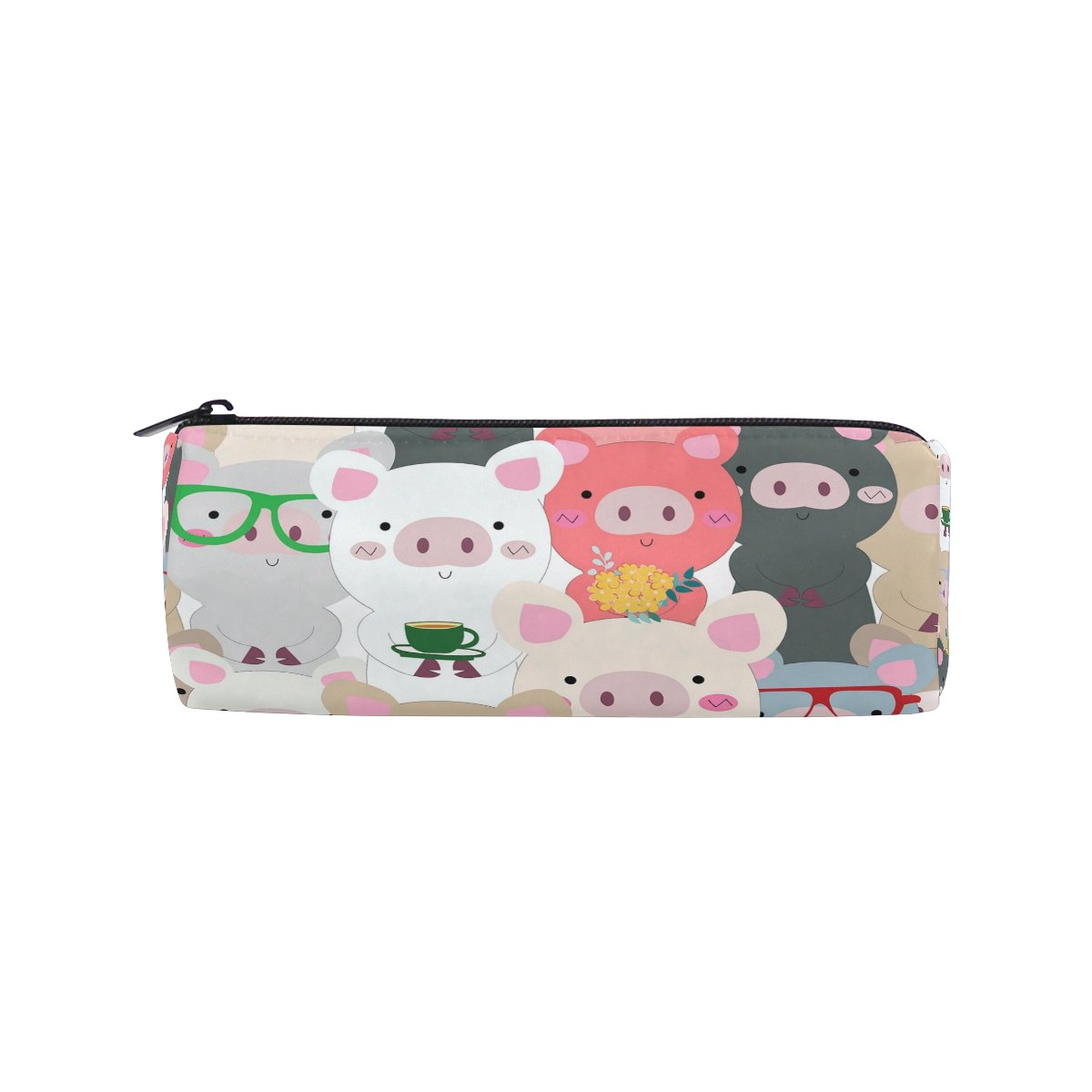 ALAZA Cartoon Pig Blue Grey Animal Pencil Pen Case Pouch Bag with Zipper for Girls Kids School Student Stationery Office Supplies