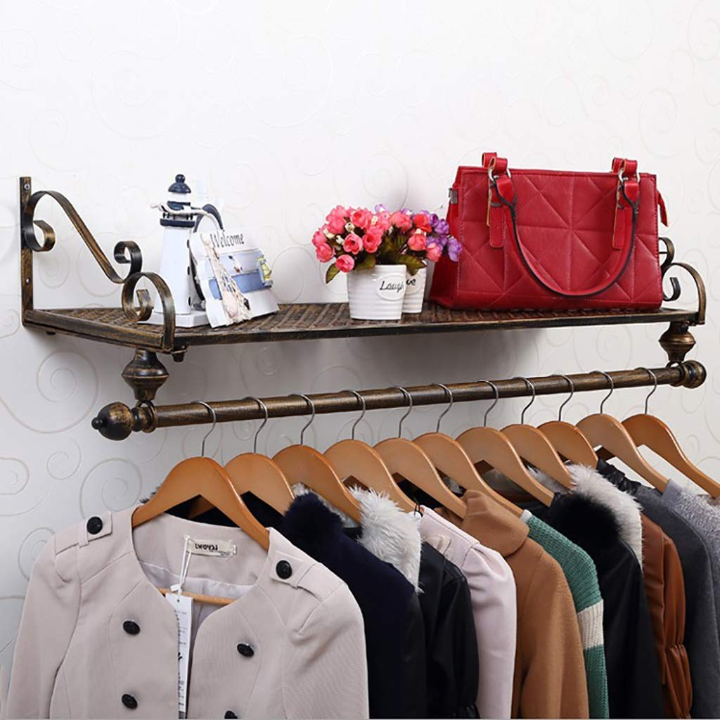Bronze 80 cm European Pastoral Style Iron Wall Hanging Coat Rack Wall Decoration Rack Hanger Black White Bronze. (color   Bronze, Size   80 cm)