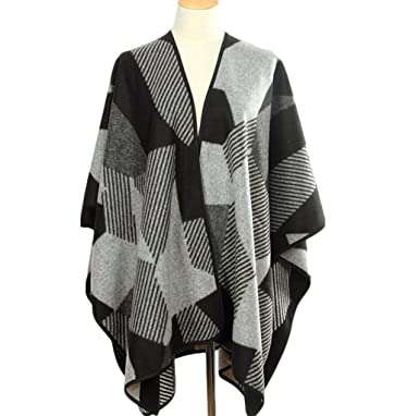 Herbst und Winter Mode Stricken Schal Mantel schwarz grau ...