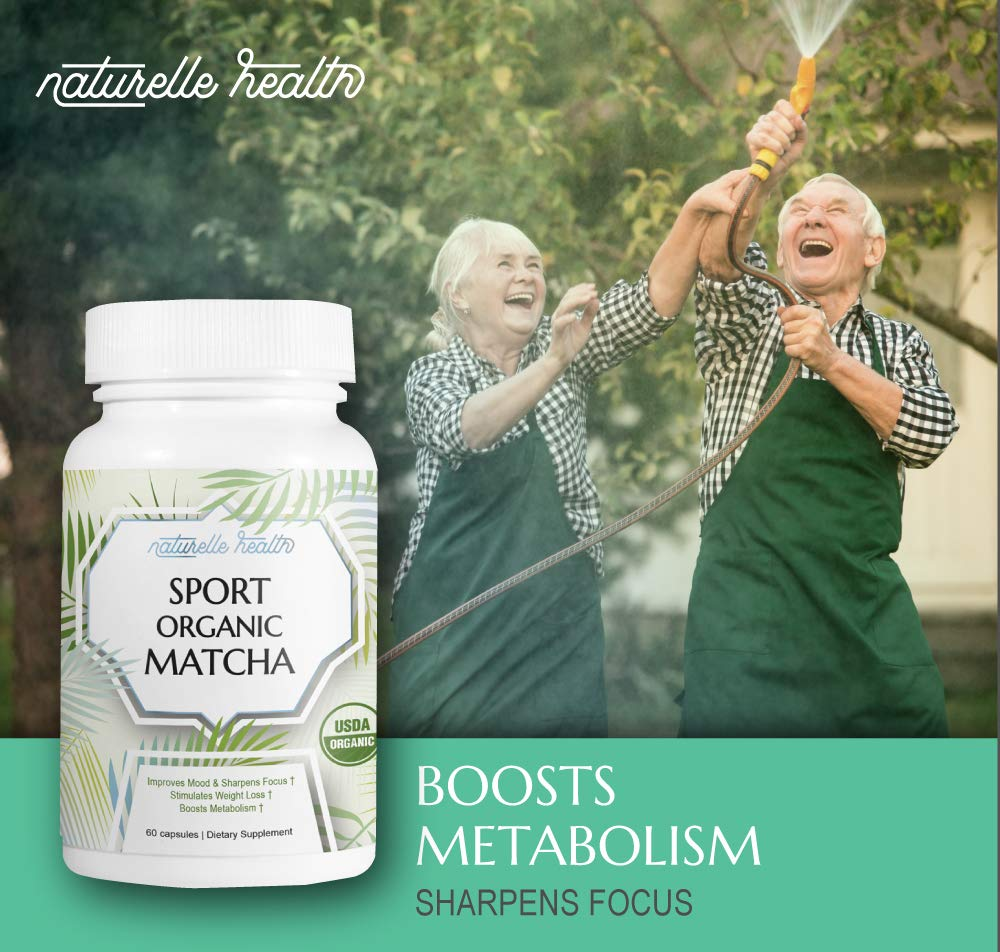 Naturelle Organic Matcha Green Tea Capsules, Ultimate Pre and Post Workout Supplements, Energizes Without Caffeine Jitters, Improves Workouts and Detoxifies, 60 Capsules