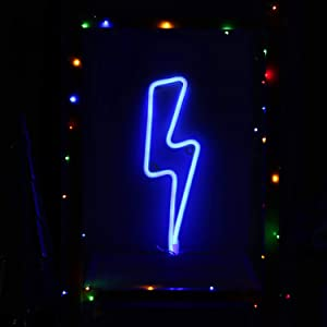 Neon Night Light Blue Lightning Bolt Battery and USB Powered Wall Art LED Decorative Lights for Living Room Man' Cave Games' Room Party Decoration(NELNBB)