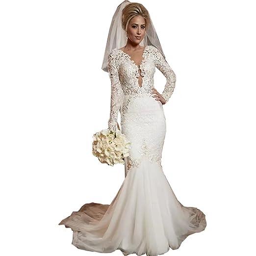 Chady Vintage Lace Mermaid Wedding Dresses 2019 Scoop Neck
