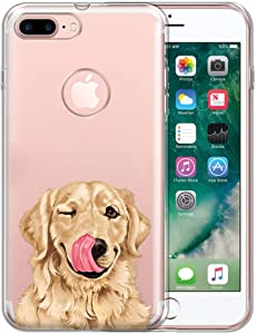 FINCIBO Case Compatible with Apple iPhone 7 Plus/iPhone 8 Plus, Clear Transparent TPU Protector Case Cover Gel for iPhone 7 Plus / 8 Plus (NOT FIT iPhone 7/8) - Cute Winking Golden Retriever
