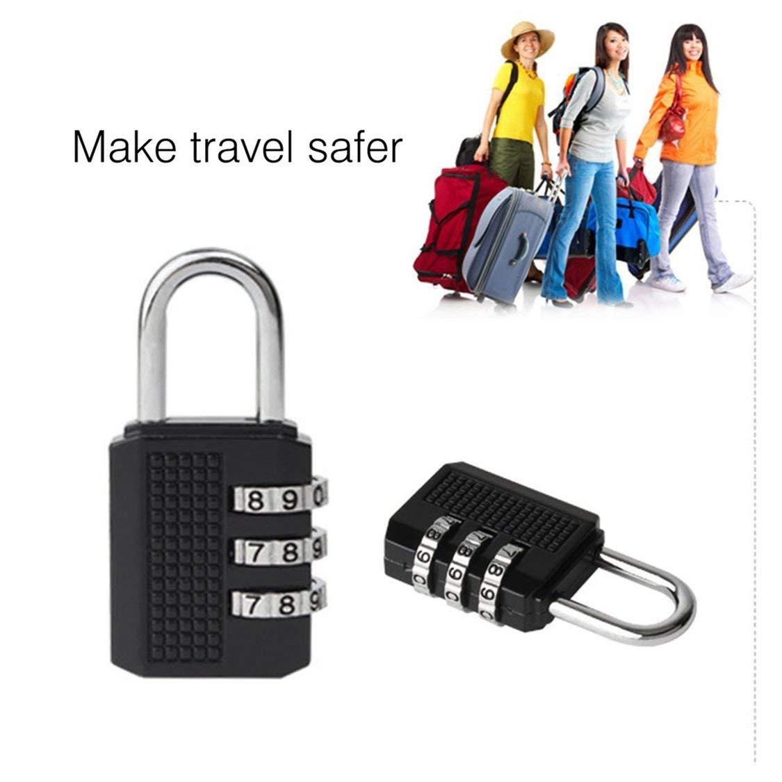 Mini Antifurto Blocco in lega di zinco Sicurezza 3 Combinazione multifunzione Codice blocco viaggio valigia bagagli armadio Lucchetto
