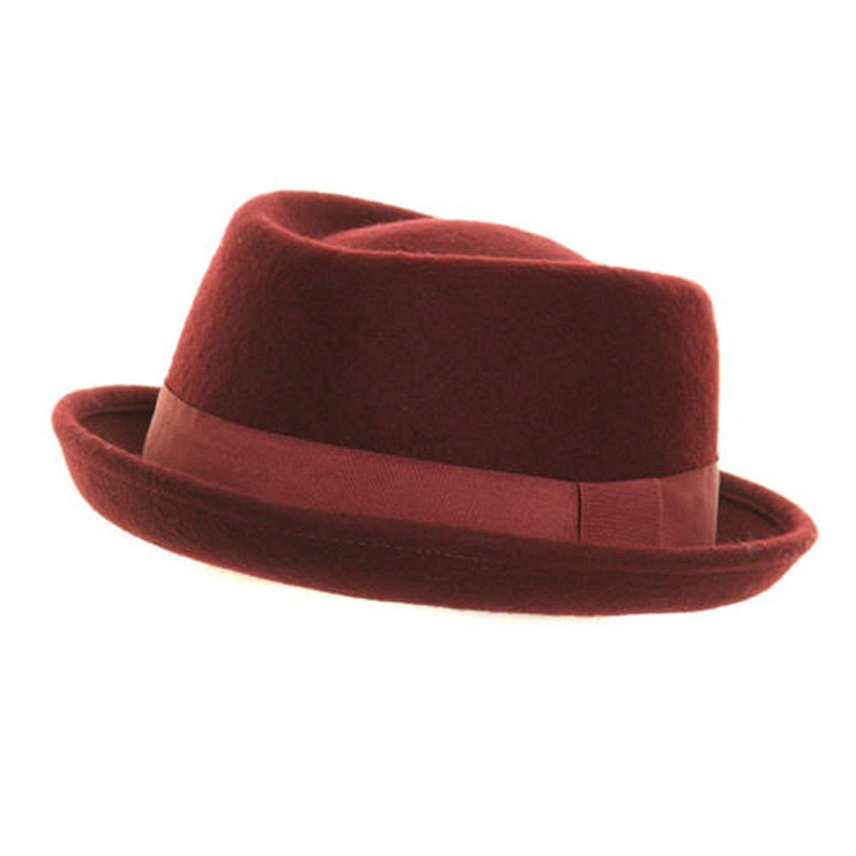 Gents Ladies UNISEX 100% Wool Felt PorkPie Trilby Hat With Band