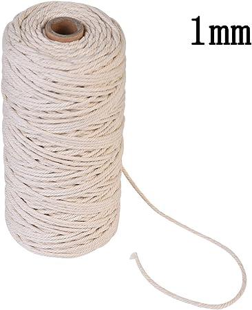 Algodón Natural cordbohemia Cable de macramé, tejer para hacer DIY Planta de colgar en la pared percha tendedero de cuerda, decoración, algodón, beige, 1mm/400M: Amazon.es: Hogar