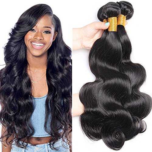 (Brazilian Virgin body Hair 3 Bundles Body Wave 300g Unprocessed Natural Color 100% Human Hair Extensions (16 18 18 inch) )