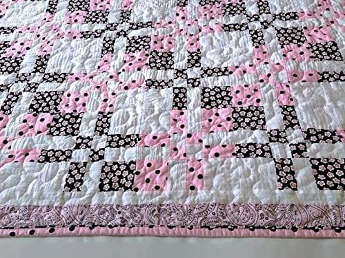 Homemade Quilts For Sale >> Amazon Com Pink Brown White Baby Quilt Toddler Quilt Handmade