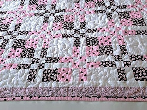 Pink, Brown & White Baby Quilt, Toddler Quilt, Handmade Lap Quilt, Quilted Throw, Patchwork Quilt, Homemade Quilt, Handmade Quilts for Sale, Lap Quilts and Throws, Sofa Throw Blanket