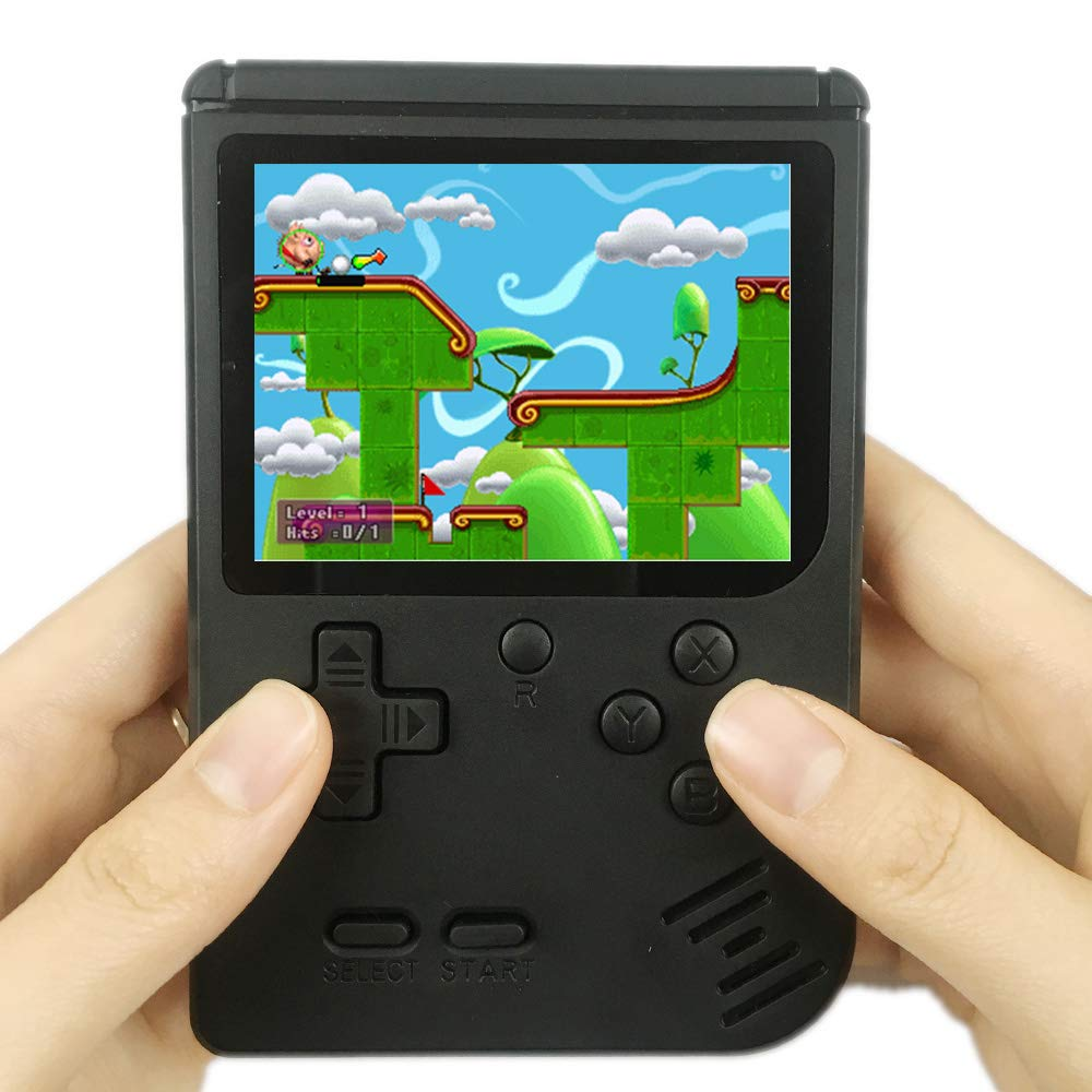 QINGSHE QS-3 Retro FC Handheld Game for Kids Birthday Gift for Boys Girls-Black Upgraded Arcade System Portable Game Player with 400 Classic Games 3 Inch LCD 1 USB Charge and TV-output function