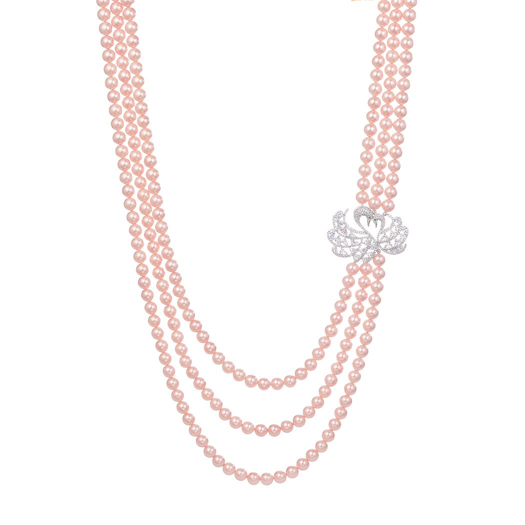Romantic Time Elegant Silver Lover Peacock Multilayer Pearls Sweater Chain Necklace (pink)