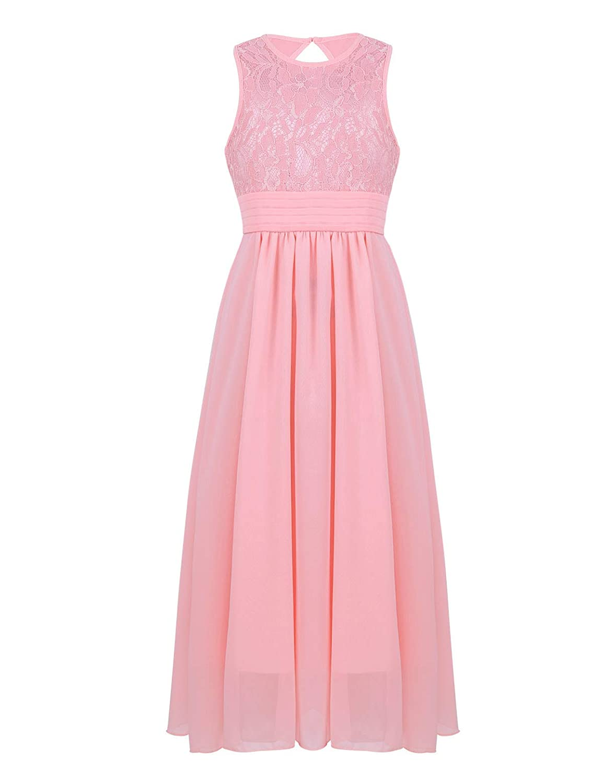 YiZYiF V Neck Lace Chiffon Flower Girl Cutout Back Summer Princess Wedding Dance Prom Gown Party Dress
