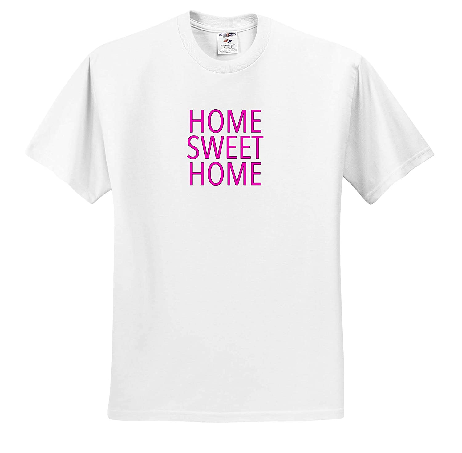 3dRose EvaDane Inspirational Sayings Home Sweet Home Pink Adult T-Shirt XL ts/_308894