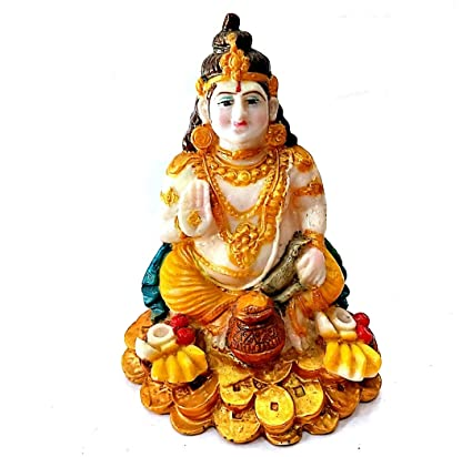 Kuber ji Murti Marble Look Idol, Kuber ji Statue for Pooja ghar Size 6inch
