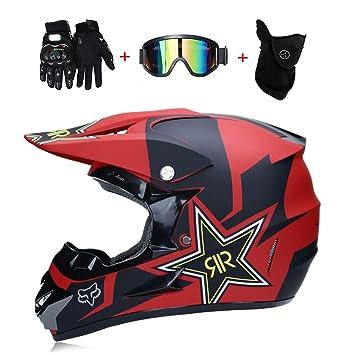Wansheng Motocicleta Moto Cascos de Motocross y Guantes Y Gafas D.O.T estándar Niños Quad Bike ATV Go Karting Casco Zorro Rock Star Rojo,Redfox,S55~56CM: ...
