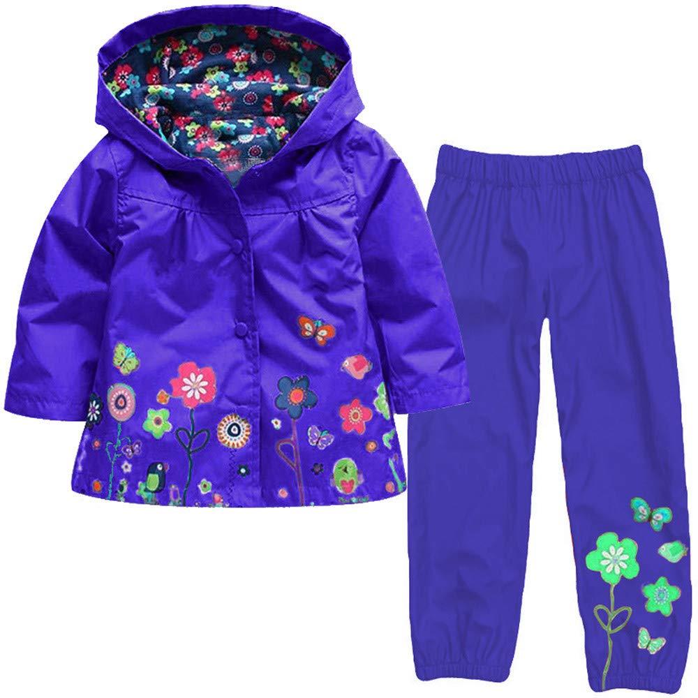 Zainafacai Kids Waterproof Suit, 2018 Lightweight Windbreaker Hooded Jacket Raincoat Hoodie+Pants (Dark Blue, 130)