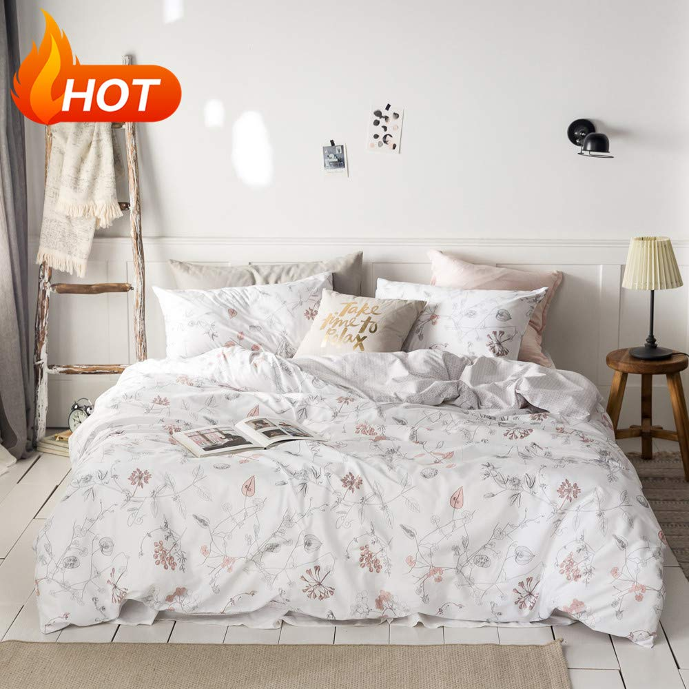 MICBRIDAL Floral Duvet Cover King Ultra-Soft Cotton Bedding Set, Pink Floral Tree Branches Leaves Pattern Printed on White, Modern Botanical Floral Comforter Cover with Zipper Closure 4 Corner Ties