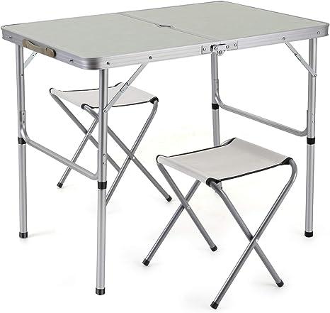 Sunkorto Mesa de picnic plegable con 2 sillas, mesa de ...