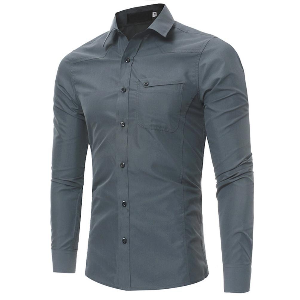 Ximandi Men Shirts Business Long Sleeve Turn-Down Collar 113% Cotton Slim Fit Shirt